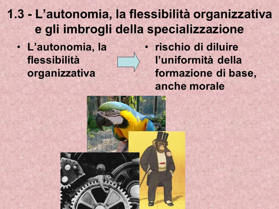 1.3 - L'autonomia, la flessibilità organizzativa e gli imbrogli della specializzazione