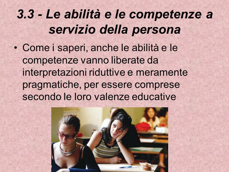 3.3 - Le abilità e le competenze a servizio della persona