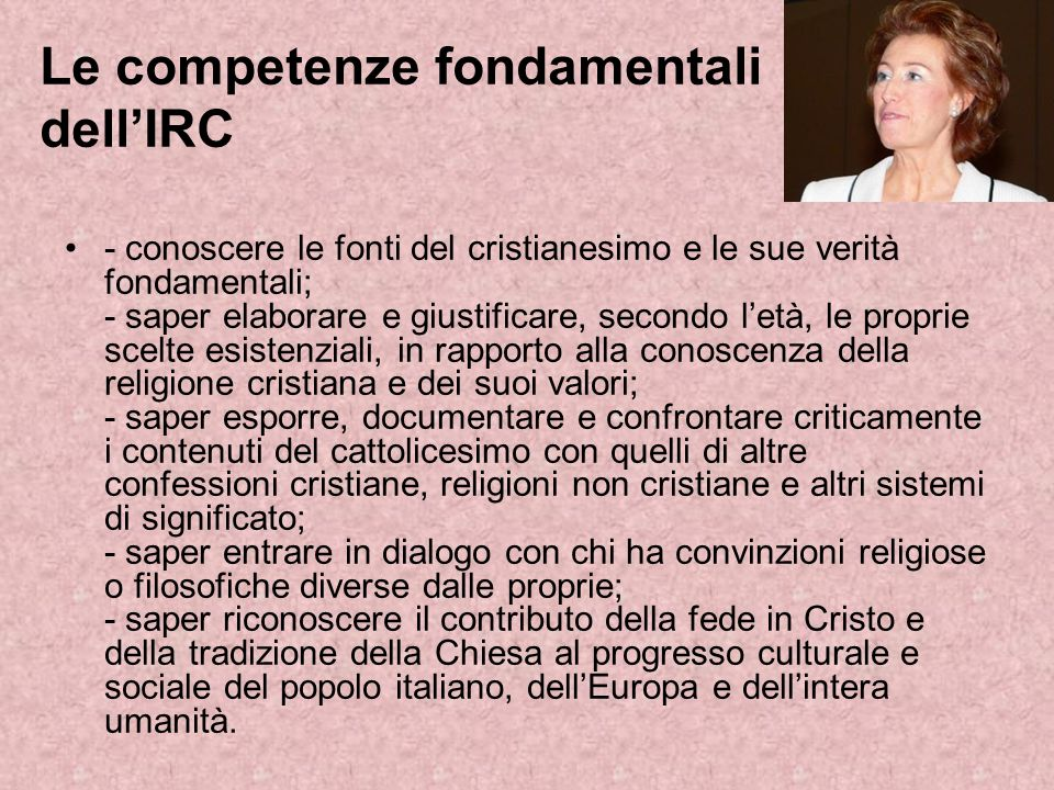 Le competenze fondamentali dell'IRC