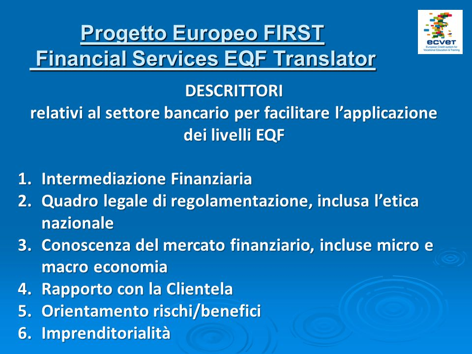 Progetto Europeo FIRST Financial Services EQF Translator