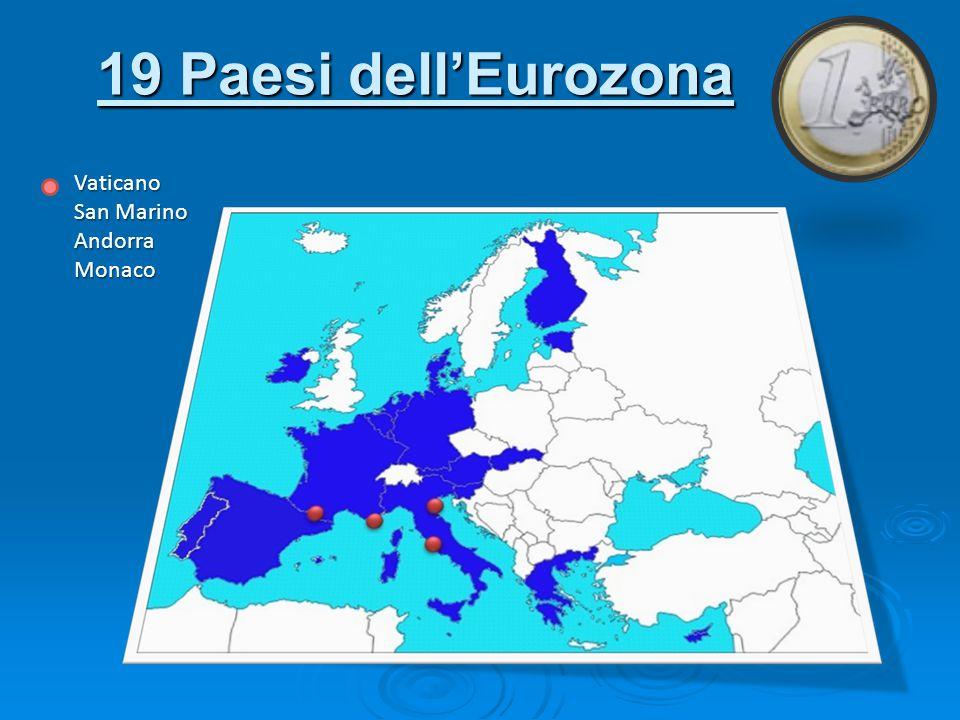 19 Paesi dell'Eurozona Vaticano San Marino Andorra Monaco