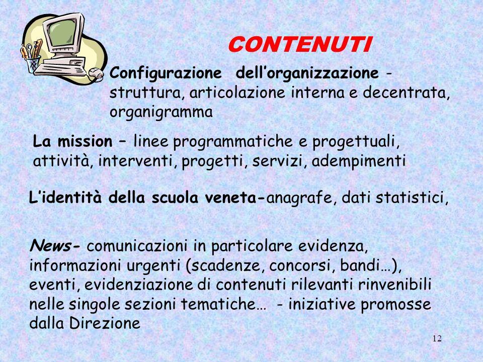 CONTENUTI Configurazione dell'organizzazione - struttura, articolazione interna e decentrata, organigramma.