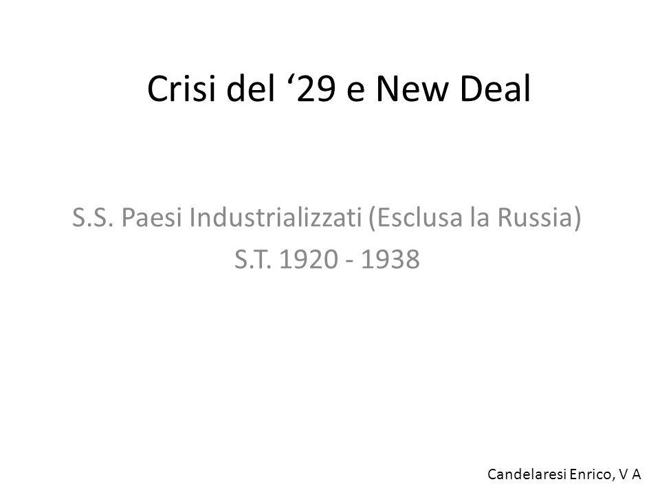 S.S. Paesi Industrializzati (Esclusa la Russia) S.T. 1920 - 1938