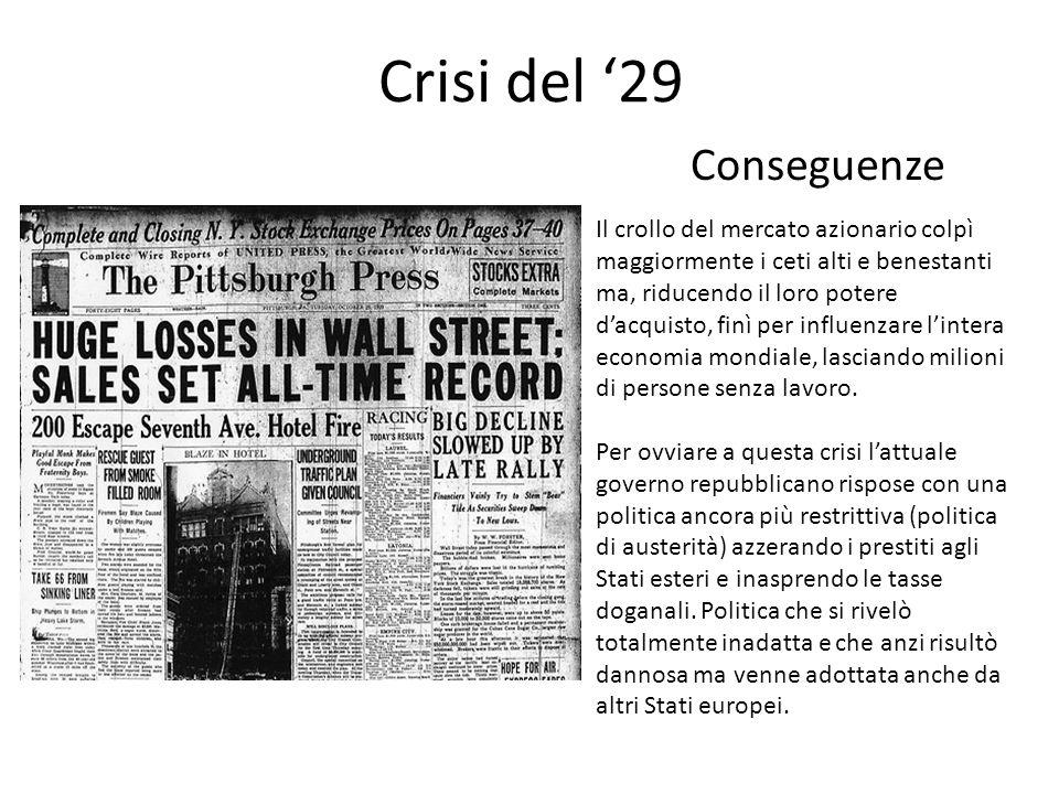 Crisi del '29 Conseguenze