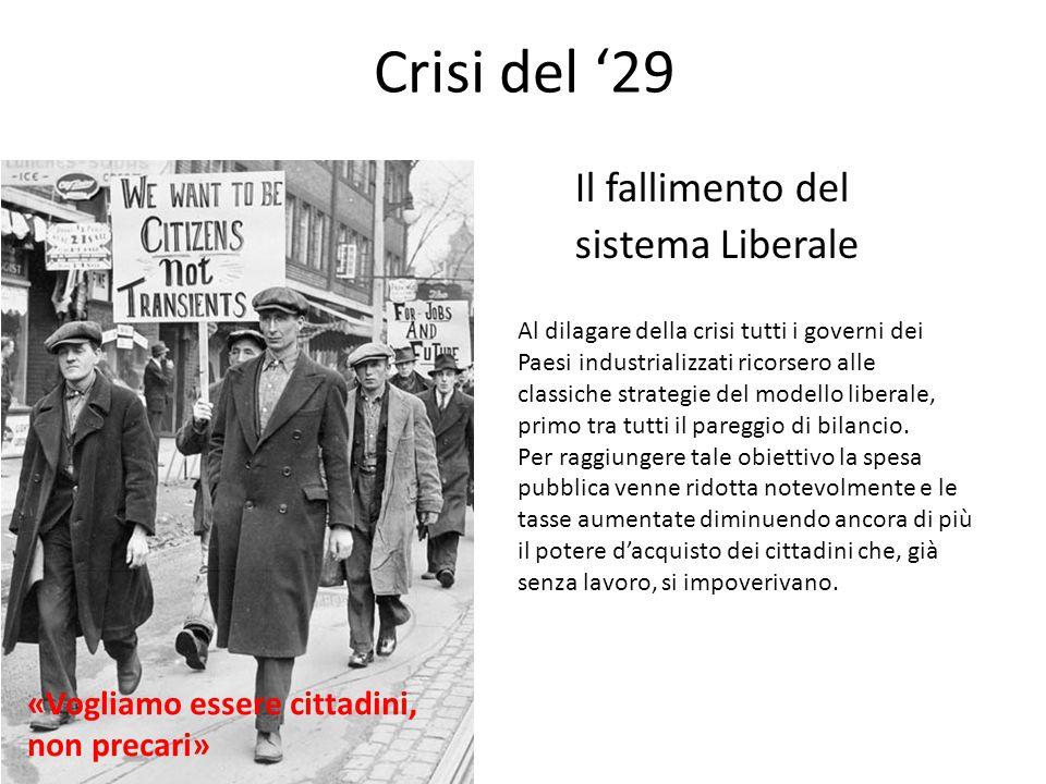 Crisi del '29 Il fallimento del sistema Liberale