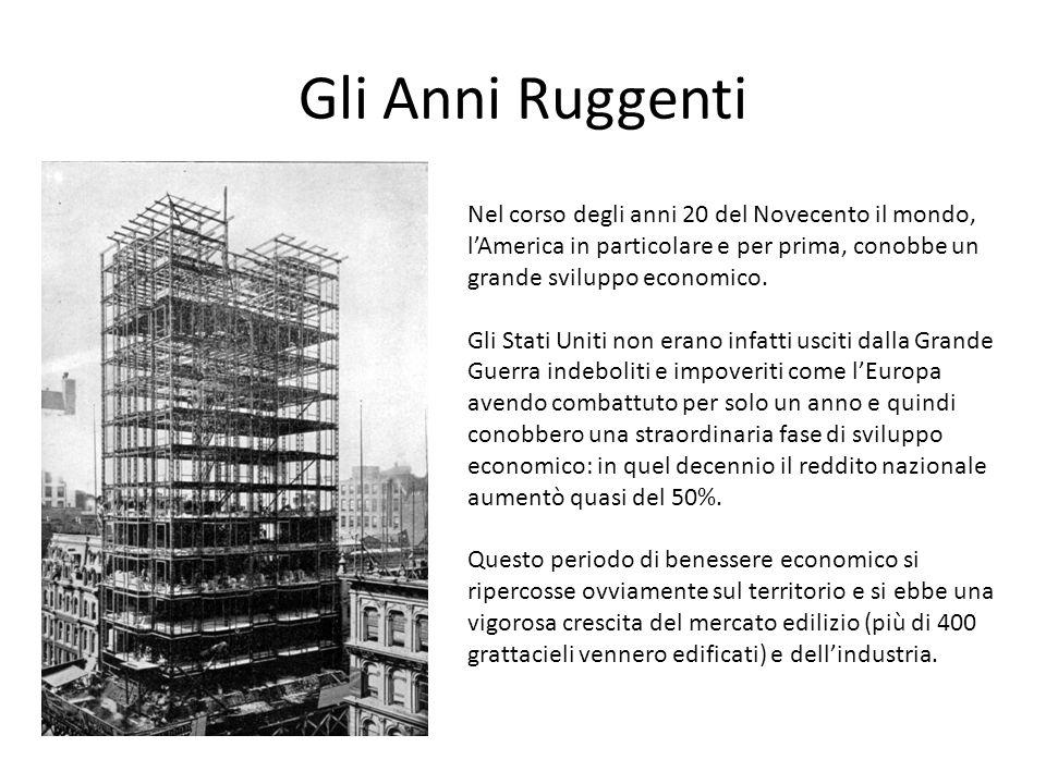 Gli Anni Ruggenti Nel corso degli anni 20 del Novecento il mondo, l'America in particolare e per prima, conobbe un grande sviluppo economico.