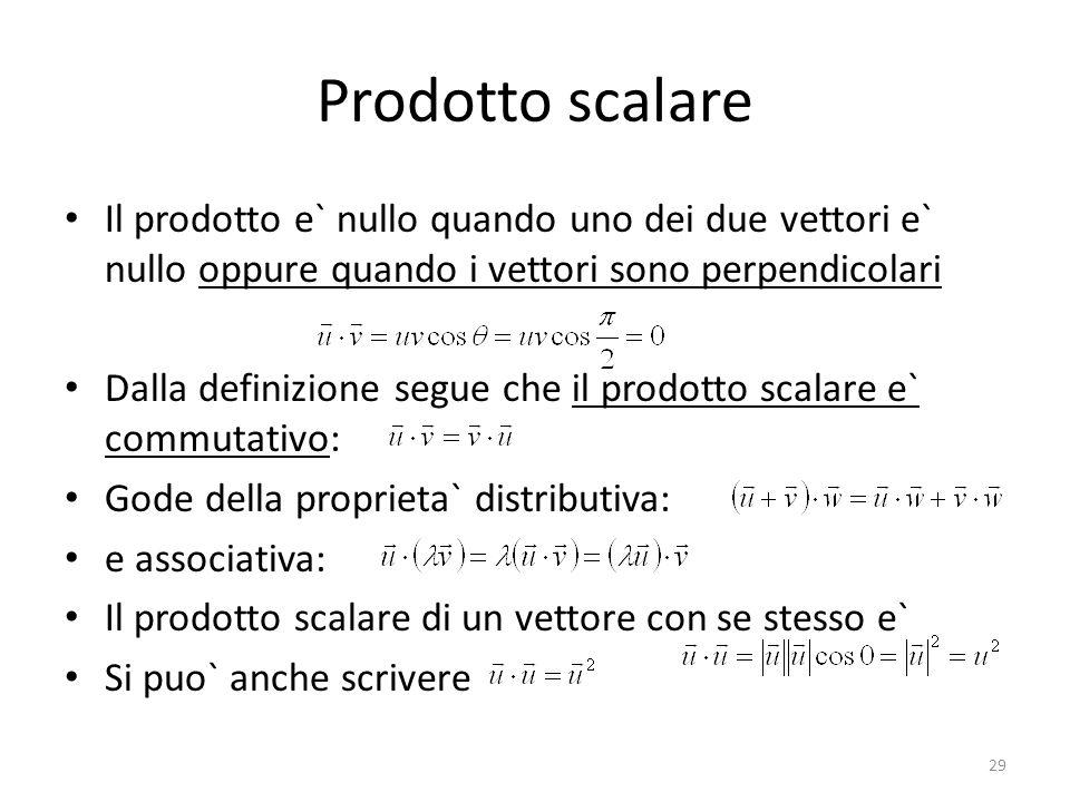 Prodotto scalare Il prodotto e` nullo quando uno dei due vettori e` nullo oppure quando i vettori sono perpendicolari.