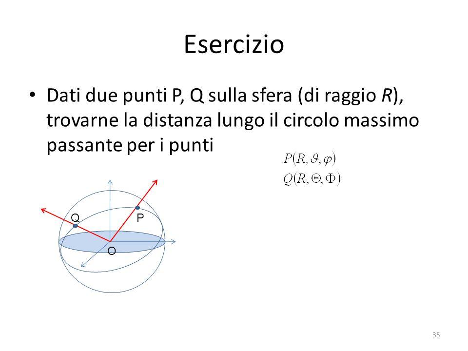 Esercizio Dati due punti P, Q sulla sfera (di raggio R), trovarne la distanza lungo il circolo massimo passante per i punti.