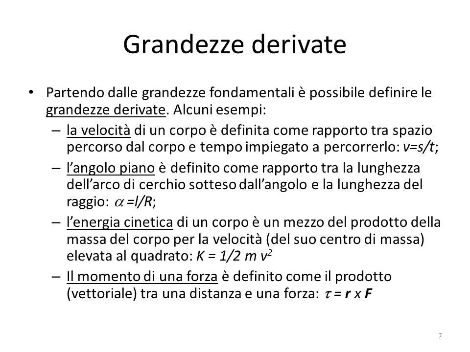 Grandezze derivate Partendo dalle grandezze fondamentali è possibile definire le grandezze derivate. Alcuni esempi: