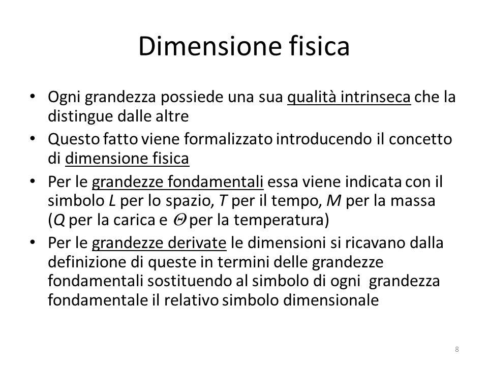 Dimensione fisica Ogni grandezza possiede una sua qualità intrinseca che la distingue dalle altre.