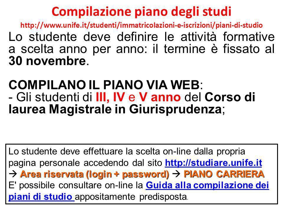 Compilazione piano degli studi http://www. unife
