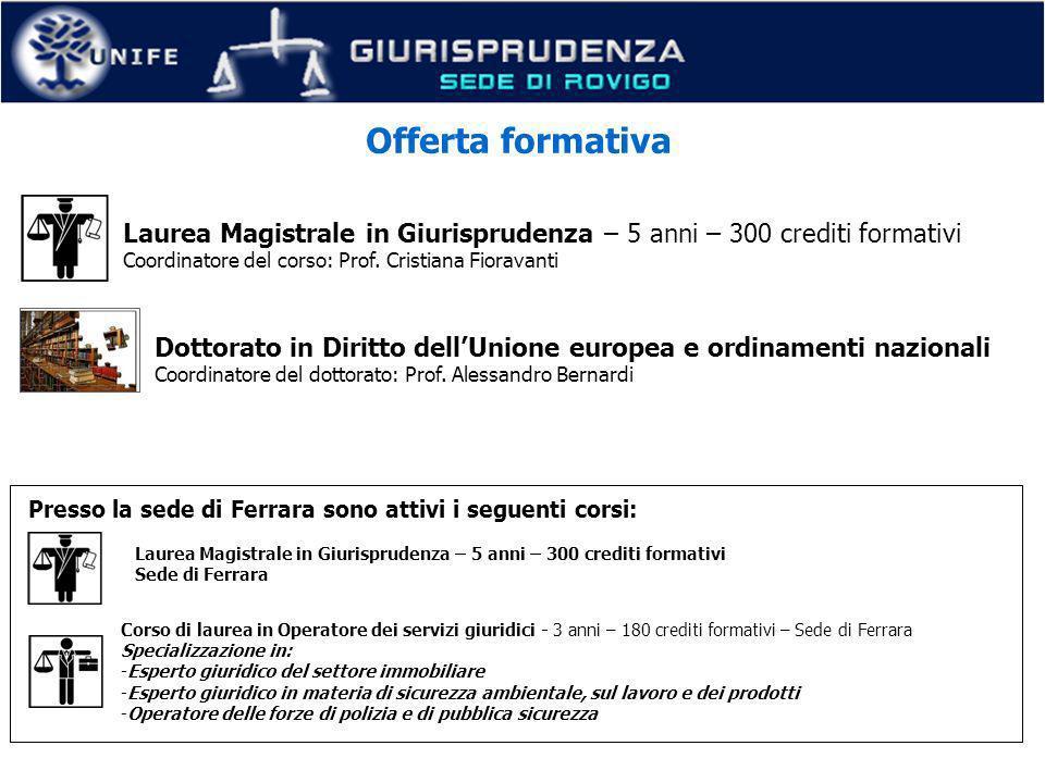 A.A. 2011/12. Offerta formativa. Laurea Magistrale in Giurisprudenza – 5 anni – 300 crediti formativi.