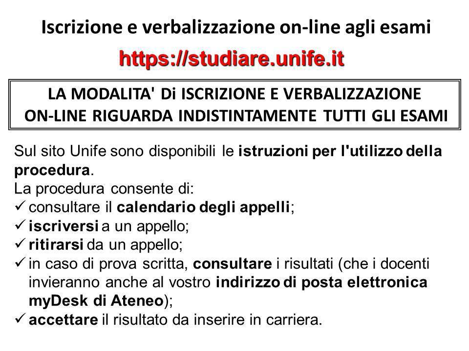 Iscrizione e verbalizzazione on-line agli esami