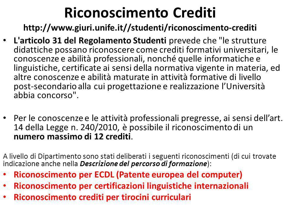 Riconoscimento Crediti http://www. giuri. unife