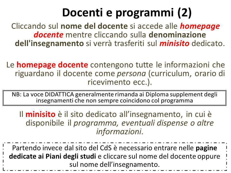 Docenti e programmi (2)