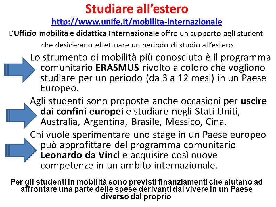 Studiare all'estero http://www. unife