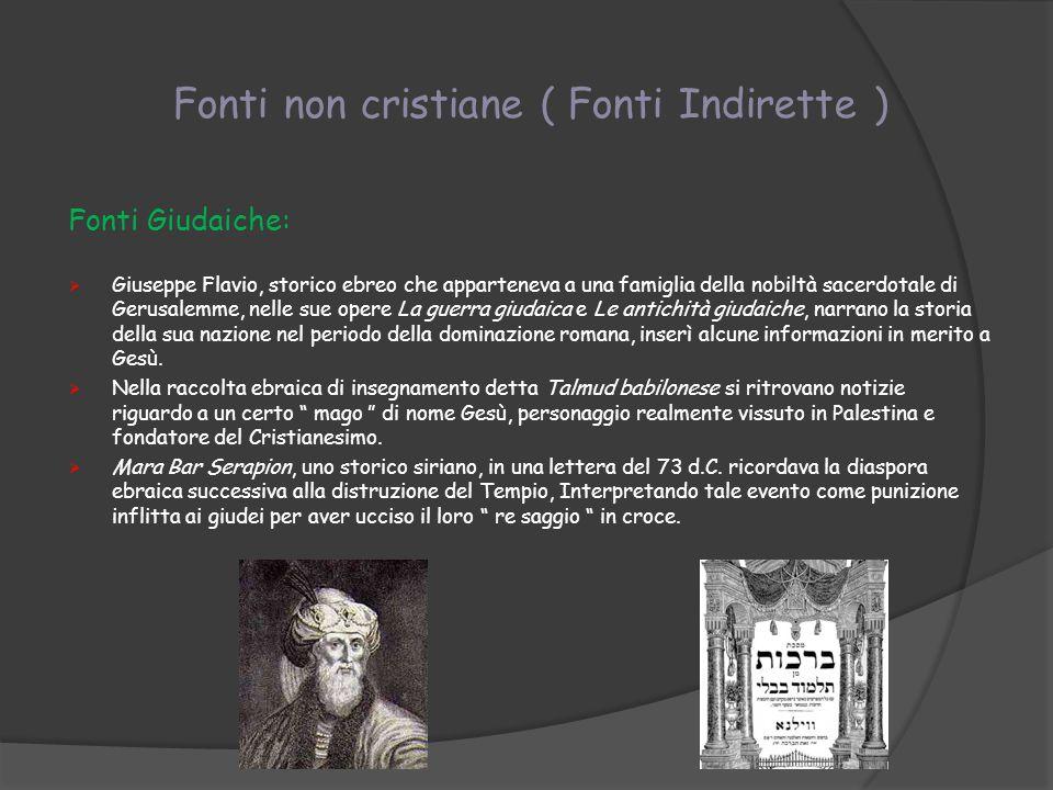 Fonti non cristiane ( Fonti Indirette )