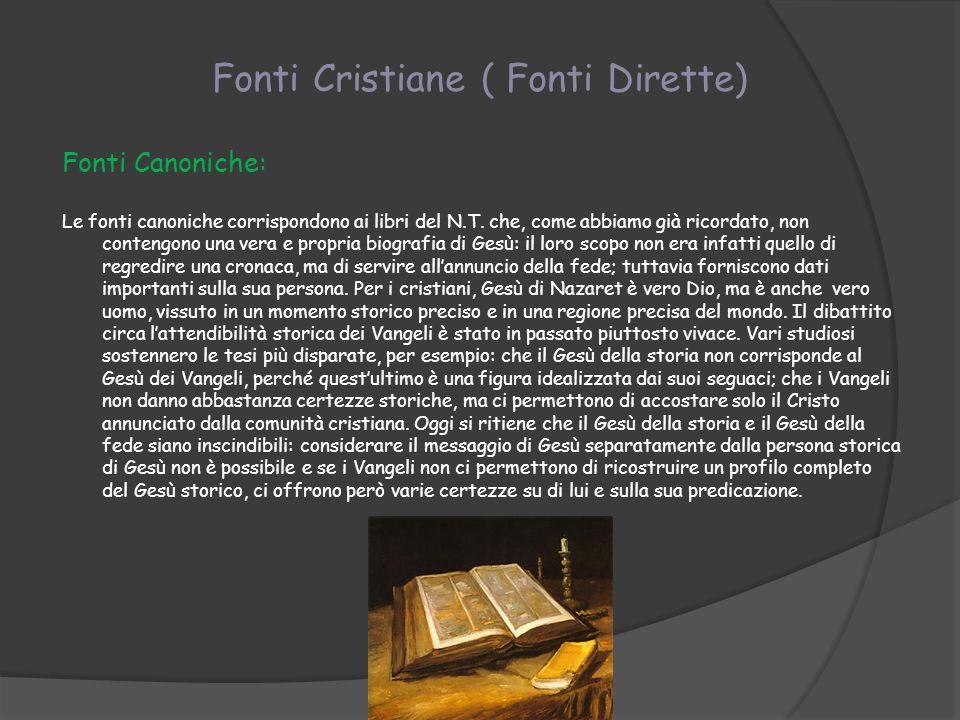 Fonti Cristiane ( Fonti Dirette)