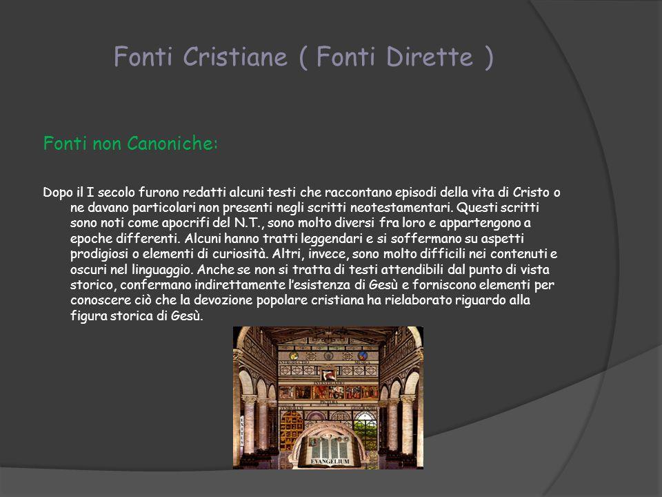 Fonti Cristiane ( Fonti Dirette )
