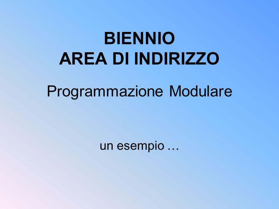 BIENNIO AREA DI INDIRIZZO Programmazione Modulare
