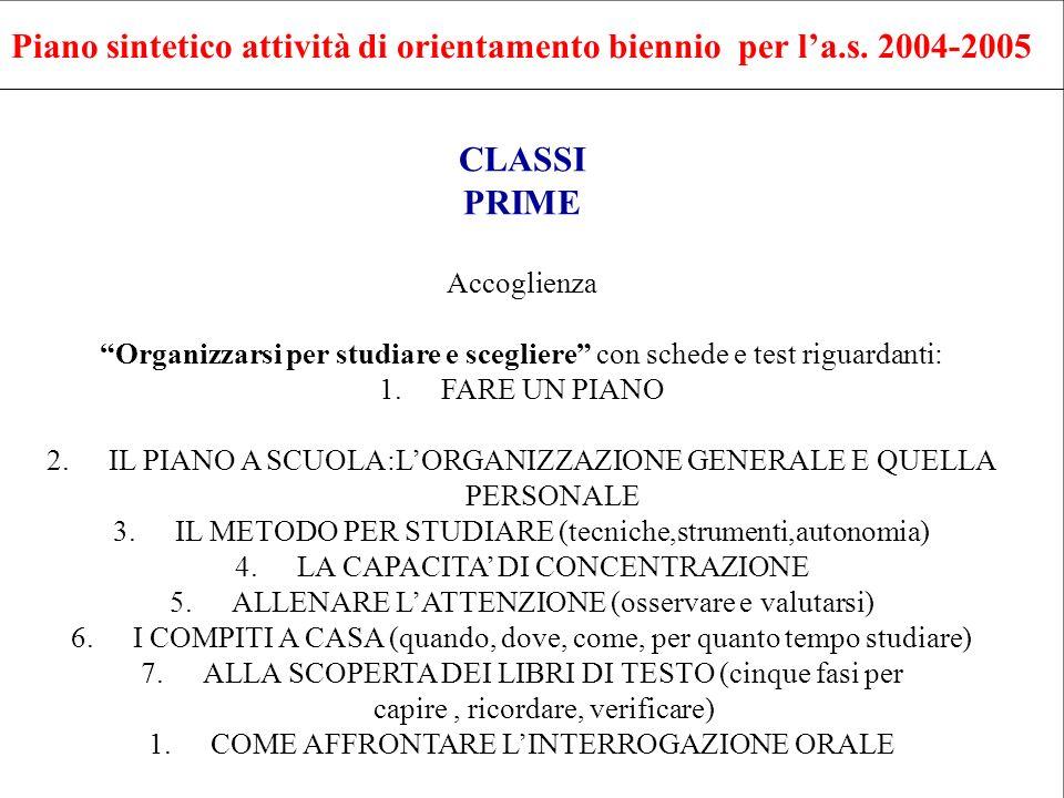 Piano sintetico attività di orientamento biennio per l'a.s. 2004-2005