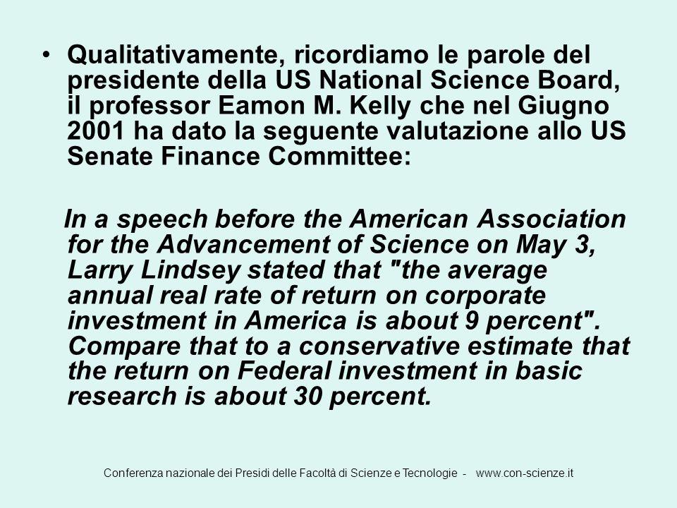 Qualitativamente, ricordiamo le parole del presidente della US National Science Board, il professor Eamon M. Kelly che nel Giugno 2001 ha dato la seguente valutazione allo US Senate Finance Committee:
