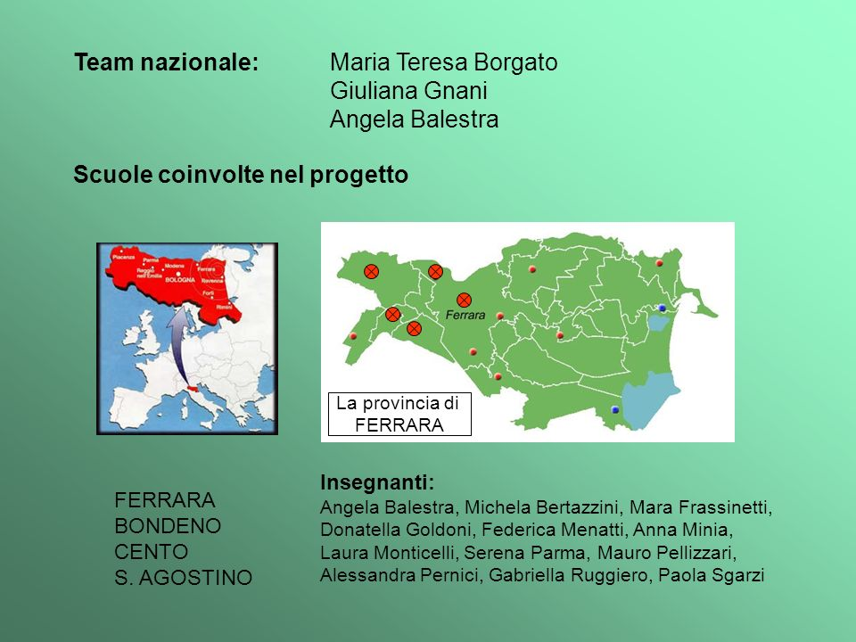 Team nazionale: Maria Teresa Borgato Giuliana Gnani Angela Balestra