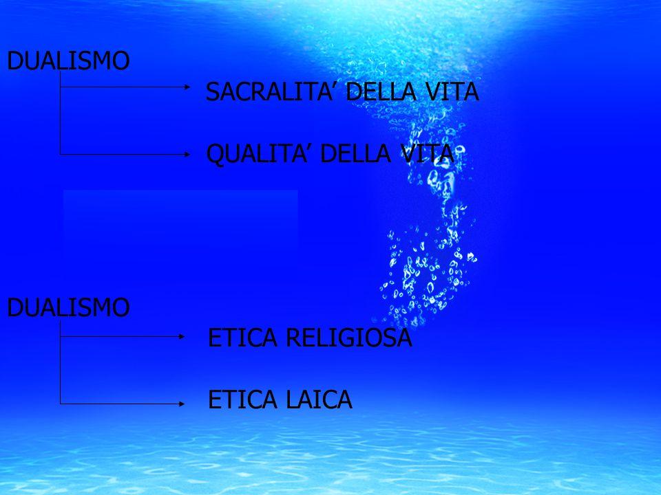DUALISMO SACRALITA' DELLA VITA QUALITA' DELLA VITA ETICA RELIGIOSA ETICA LAICA