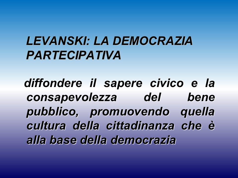 LEVANSKI: LA DEMOCRAZIA PARTECIPATIVA