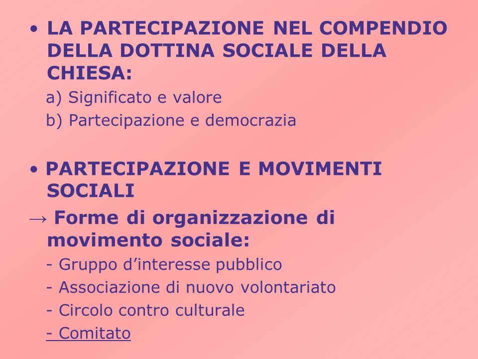 LA PARTECIPAZIONE NEL COMPENDIO DELLA DOTTINA SOCIALE DELLA CHIESA: