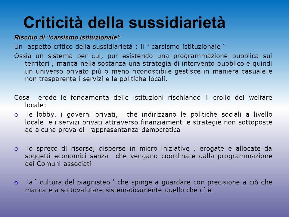 Criticità della sussidiarietà