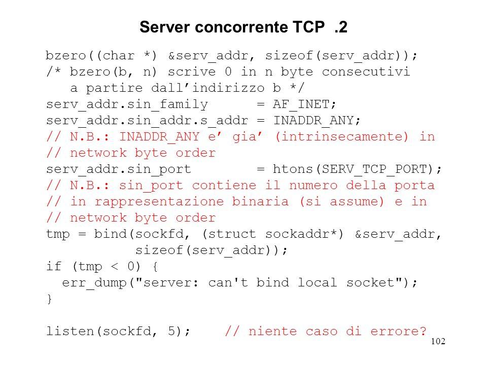 Server concorrente TCP .2