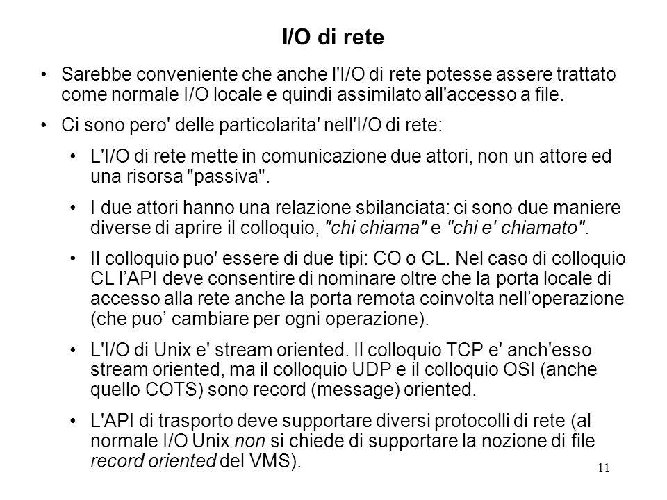 I/O di rete Sarebbe conveniente che anche l I/O di rete potesse assere trattato come normale I/O locale e quindi assimilato all accesso a file.