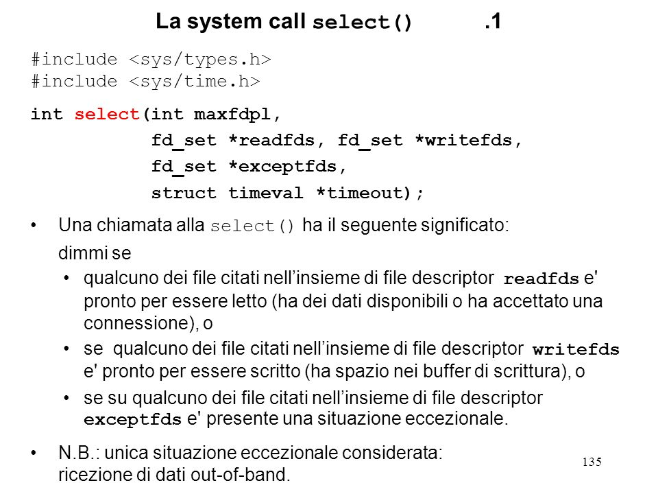La system call select() .1