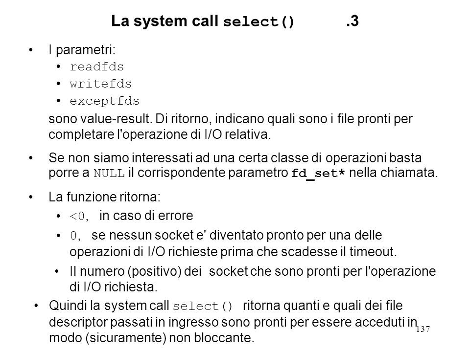 La system call select() .3