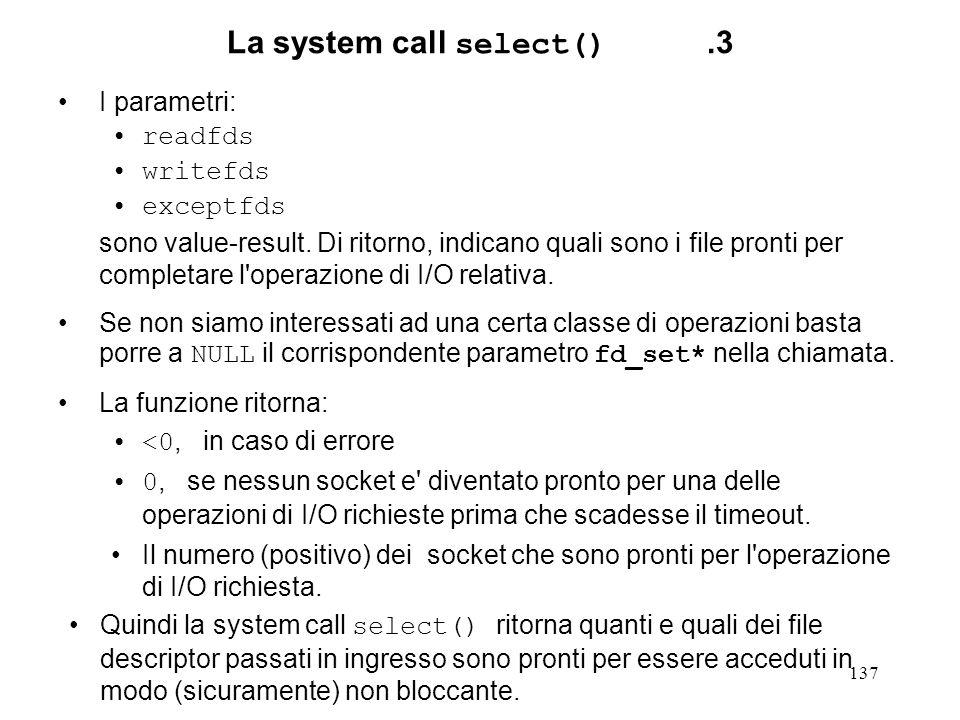 La system call select() .3
