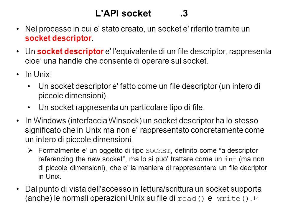 L API socket .3Nel processo in cui e stato creato, un socket e riferito tramite un socket descriptor.