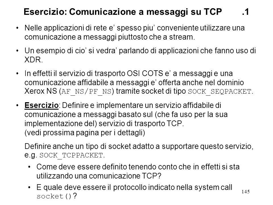 Esercizio: Comunicazione a messaggi su TCP .1