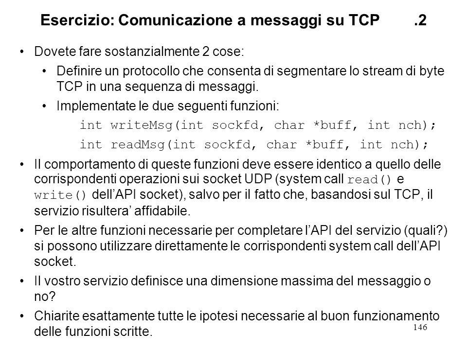 Esercizio: Comunicazione a messaggi su TCP .2