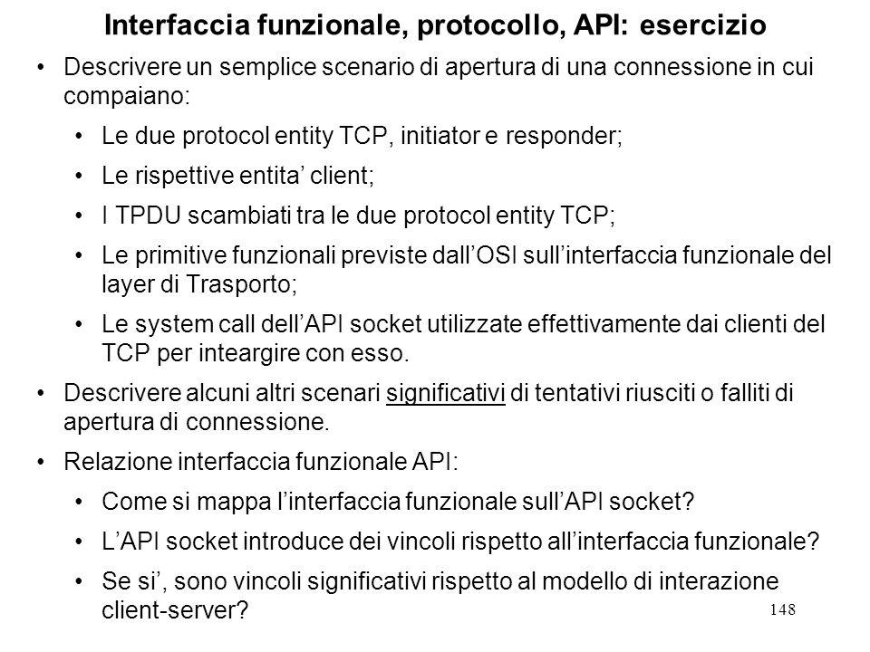Interfaccia funzionale, protocollo, API: esercizio