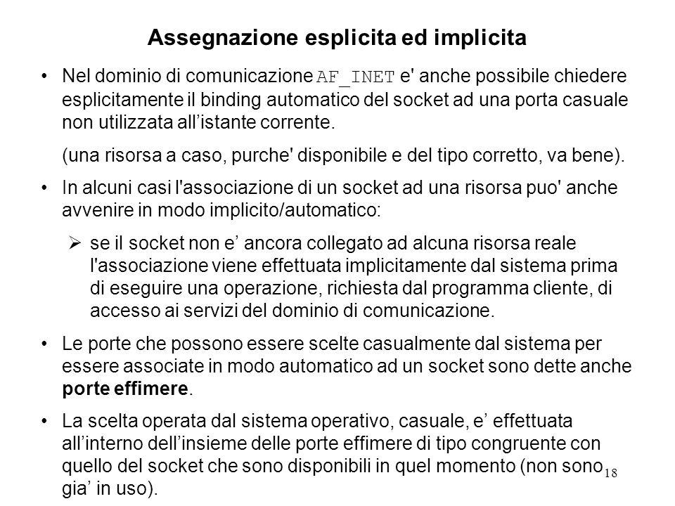 Assegnazione esplicita ed implicita