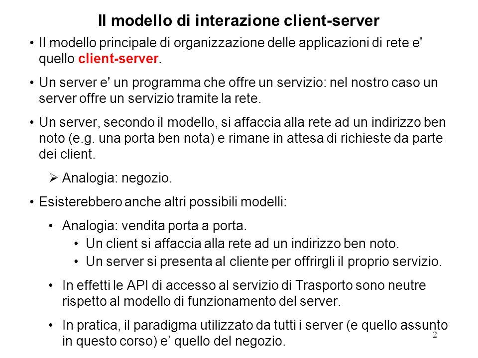 Il modello di interazione client-server
