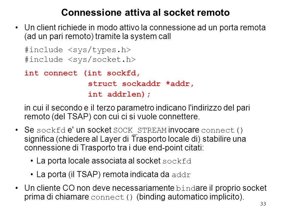Connessione attiva al socket remoto