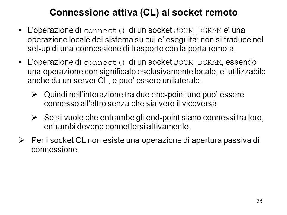 Connessione attiva (CL) al socket remoto