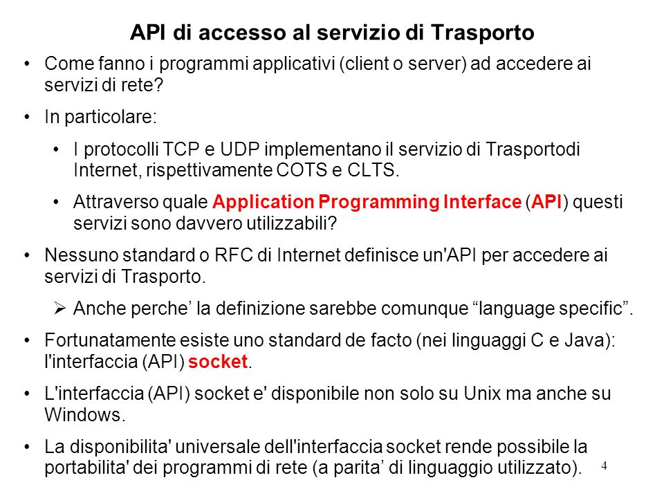 API di accesso al servizio di Trasporto