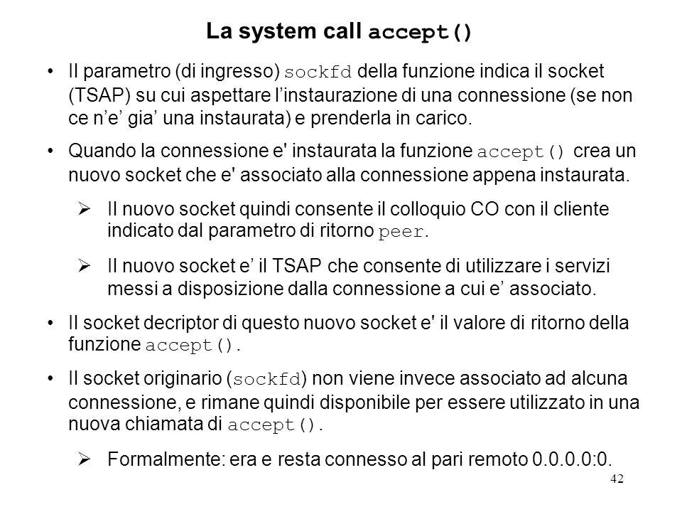 La system call accept()