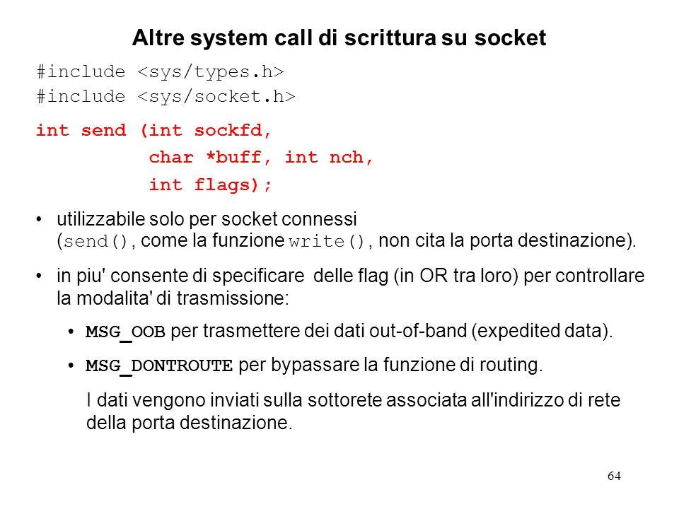 Altre system call di scrittura su socket
