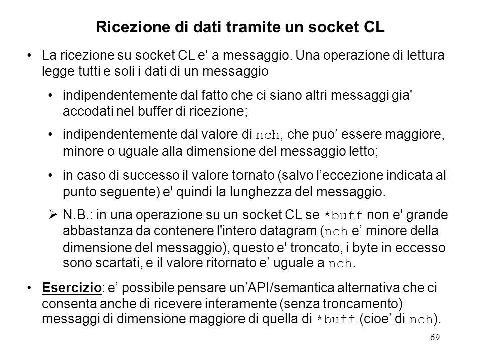 Ricezione di dati tramite un socket CL