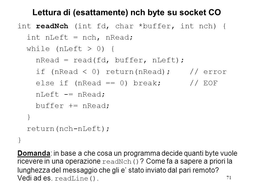 Lettura di (esattamente) nch byte su socket CO