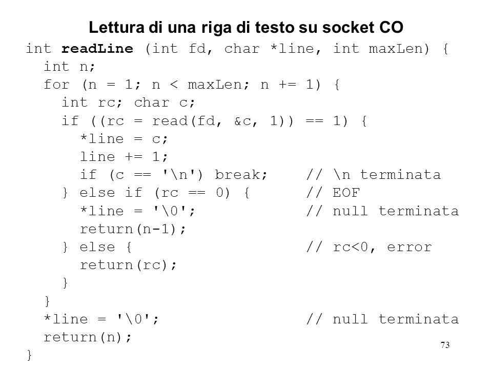 Lettura di una riga di testo su socket CO
